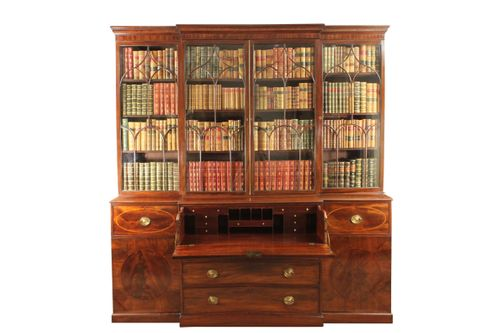 Georgian mahogany breakfront bookcase