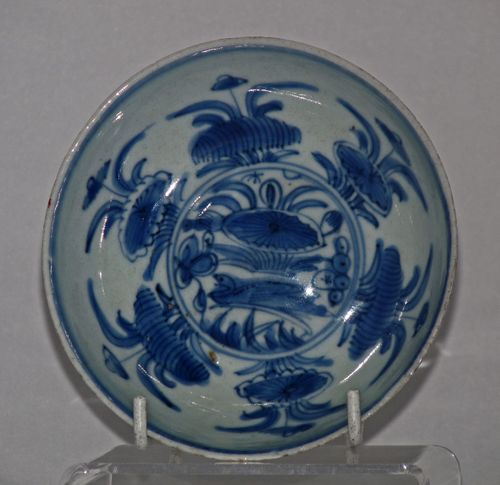 Ming - Wanli Chinese blue and white poecelain saucer plate