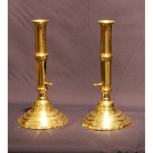 Pair of Mid 18th. century Brass Ejector Candlesticks