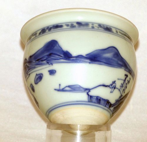 Transitional Blue and White Conical Cup