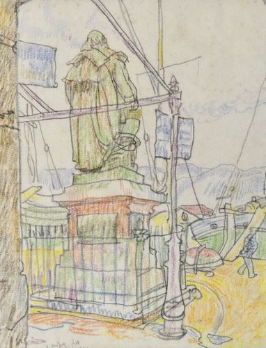 Steven Spurrier - Statue in St Tropez Harbour - chalk drawing