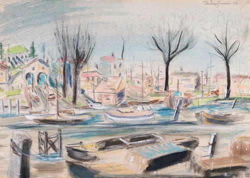 Paddy Carstairs - Boats at Teddington - watercolour