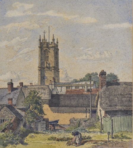 Randolph Schwabe, RWS - The Abbey Church, Cerne Abbas - Watercolour