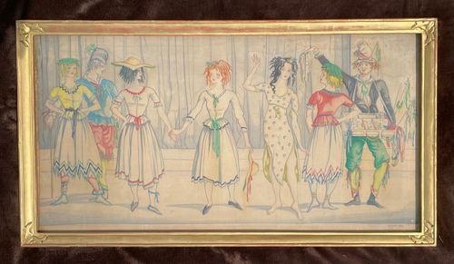 Albert Rutherston - Mimes - Watercolour on silk