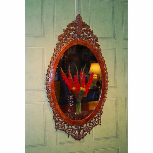 George III Mahogany Oval Fretwork Mirror