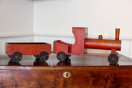 Vintage Wooden Toy Steam Engine and Truck