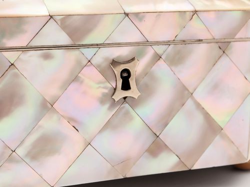 Mother of Pearl Glazed Top Jewellery Box