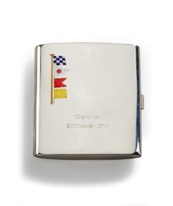 Silver and enamel cigarette case.