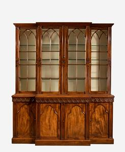 19th century bookcase in the Gothic taste