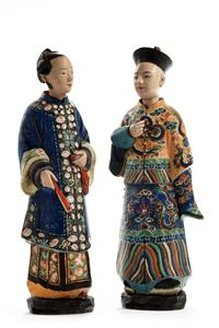 19th Century Pair of Terracotta Nodding Figures