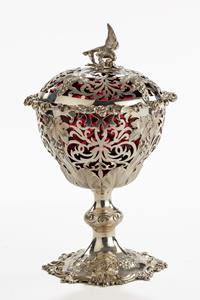19th century silver and cranberry glass preserve pot and cover