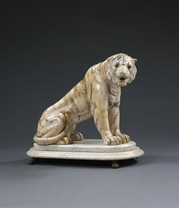 19th Century Carved Marble Tiger