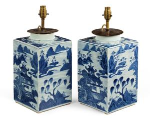Chinese Canton Ceramic Tea Canisters or Lamps