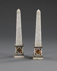 Pair Grand Tour Marble Obelisk
