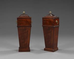 Pair of 19th century mahogany candle boxes