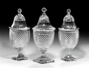 Trio of Large Cut Glass Bonbonnieres