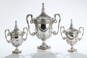 Garniture of Three Solid Silver Trophies