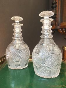 Matched Pair of Irish Club Shaped Decanters