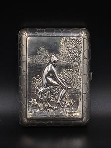 Continental silver cigarette case with female nude