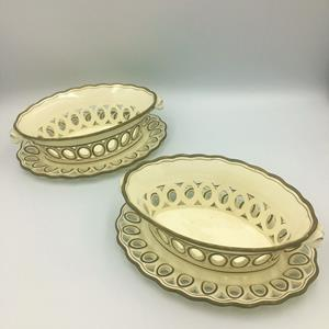 19th century  pair of Spode Creamware chestnut baskets