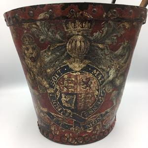 19th Century Red Ground Leather Fire Bucket