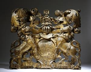 18th Century Carved Wood Royal Coat of Arms