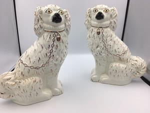 Large pair Victorian Staffordshire dogs