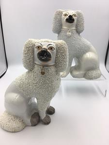 Pair of Victorian Staffordshire Pottery Poodles