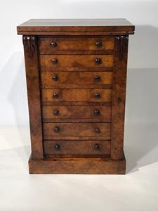 19th century Burr Walnut Small Wellington Chest