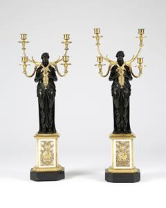 Regency Pair of Bronze and Ormolu Candelabra