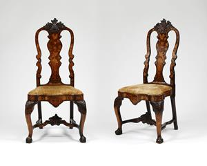 Pair 18th Century Dutch Marquetry Chairs
