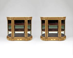 Holland & Sons 19th century gilt decorated side cabinets