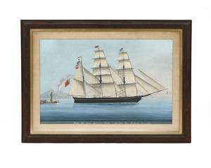 19th century gouache picture of a Barque