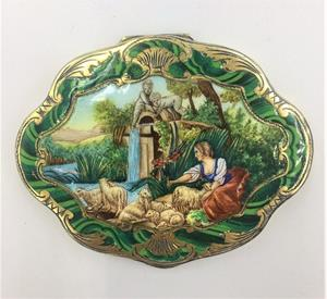 Silver-gilt and enamel  compact