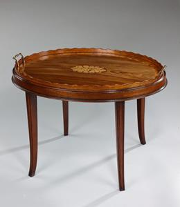 18th Century Oval Inlaid Tray on Stand