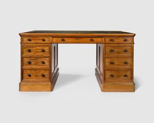 Late Victorian mahogany pedestal writing desk with impeccable provenance