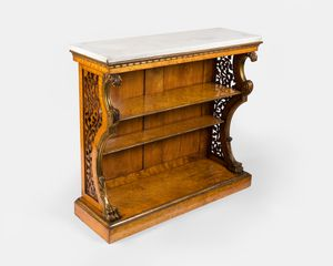 19th century marble top burr maple open bookcase