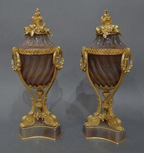 Pair of ormulo mounted agate lidded urns