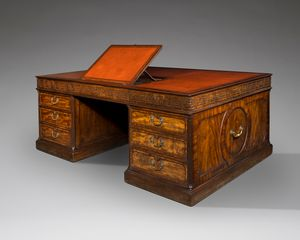 Large Mahogany Chippendale Period Partners Desk