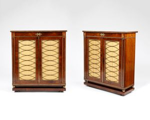 Pair of rosewood and ormolu mounted Regency side cabinets