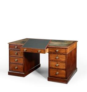 19th Century Mahogany Pedestal Partners Desk