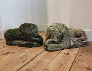 Pair 20th century composition stone lions