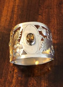 Early 20th Century Thistle Decorated Silver Napkin Ring