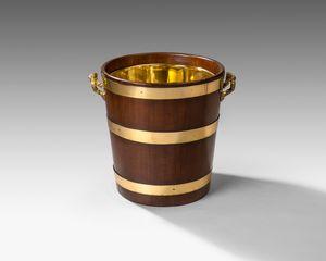 18th century brass bound log bin
