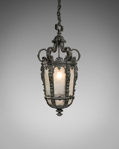 19th century large bronze hanging lantern