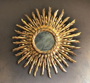 Early 20th Century French Gilt wood Sunburst Mirror