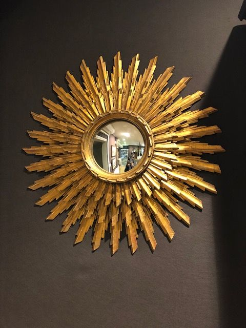 20th Century Gilt Wood Sun Burst Mirror