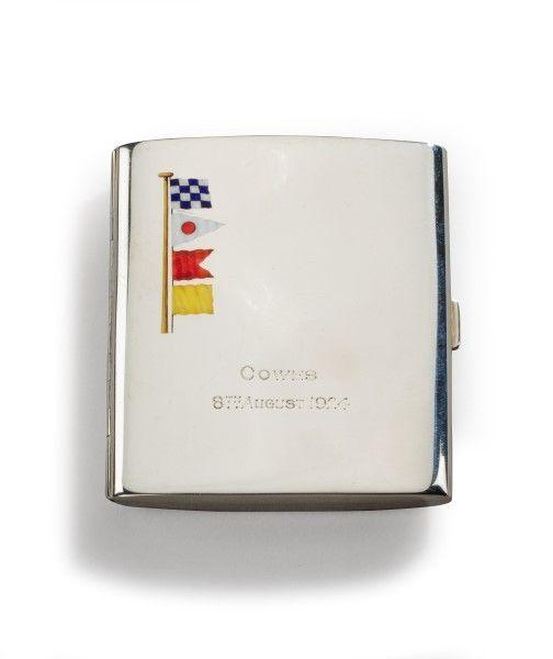 Silver and enamel cigarette case.