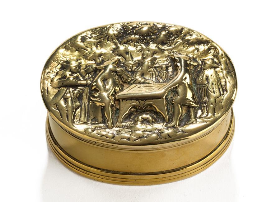 17th century brass cast snuff box