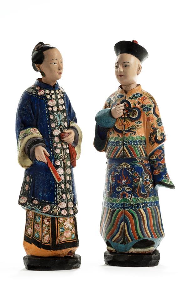 19th Century Pair of Terracotta Nodding Figures